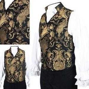 Cavalier Vest - Black/Gold Tapestry